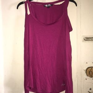 Guess fuchsia cold shoulder long sleeve